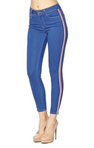 Skinny Jeans - Side Stripe stretch  - orangeshine.com