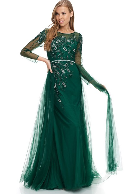 Long Sleeve Evening Dress - orangeshine.com