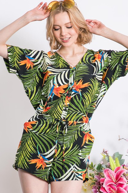 VACATION TROPICAL PRINT V-NECK ROMPE - orangeshine.com