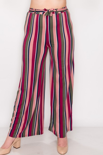 Stripe Wide Leg Plus Pants - orangeshine.com