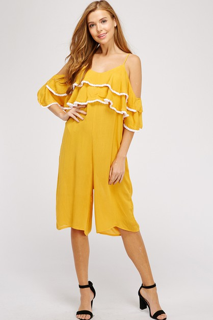 RUFFLED COLD SHOULDER JUMPSUIT - orangeshine.com