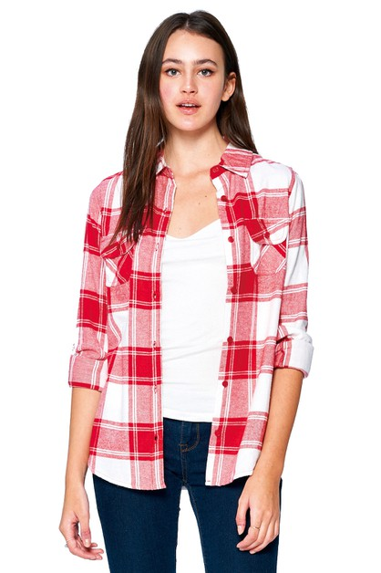 LADY PLAID FLANNEL LONG SLEEVE SHIRT - orangeshine.com
