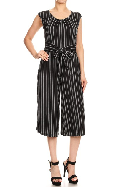 Back Stripes Crop Jumpsuit Wide Legs - orangeshine.com