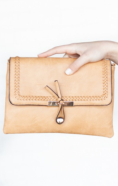 Toggle Front Vegan Leather Clutch - orangeshine.com