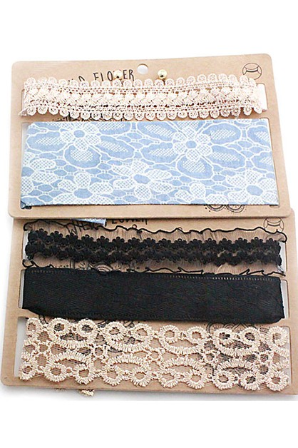 Assorted Floral Lace Chokers Set - orangeshine.com