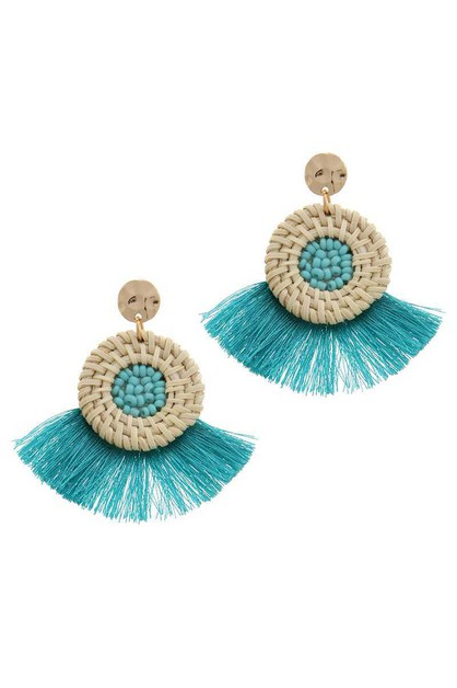 CIRCLE FAN TASSEL POST DROP EARRING - orangeshine.com