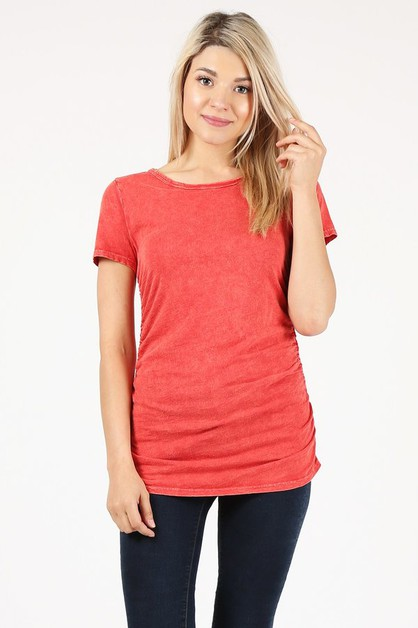 ROUND NECK SIDE SHIRRING TOP - orangeshine.com