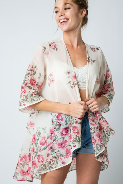 FLORAL PRINT OPEN CARDIGAN TOP  - orangeshine.com