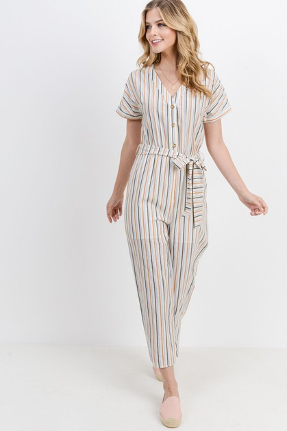Stripe Button Down With Waist Band - orangeshine.com