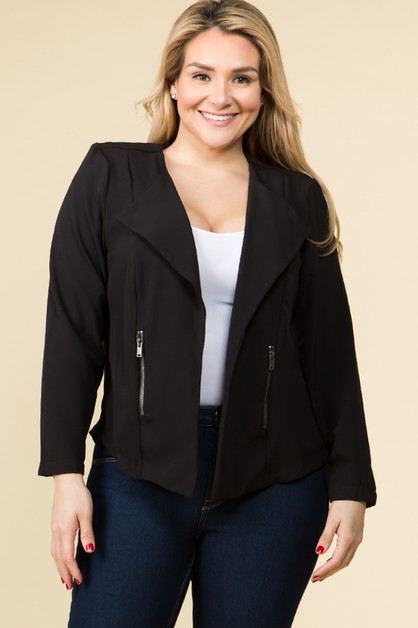 PLUS SIZE OPEN FRONT DRAPED JACKET - orangeshine.com