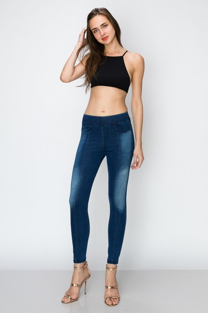 High Waist Solid Jeggings Pants - orangeshine.com