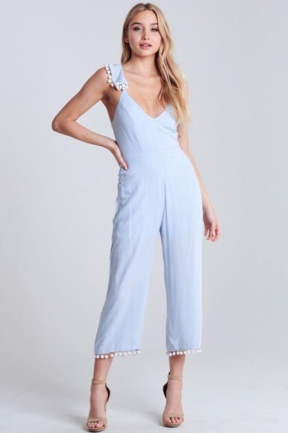 POM POM DETAILED JUMPSUIT - orangeshine.com