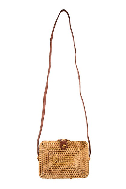 MINI RECTANGLE STRAW SHOULDER BAG  - orangeshine.com