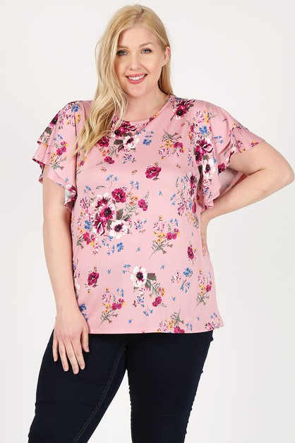 Plus Size Layered Sleeve Floral Top - orangeshine.com
