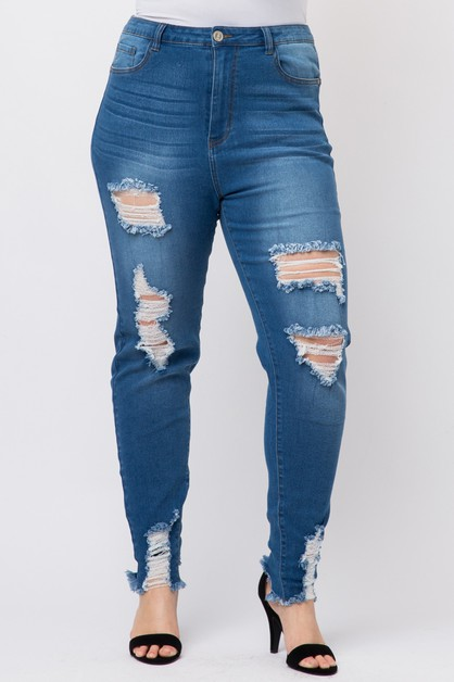 Plus Size High Waist Ripped Skinny - orangeshine.com