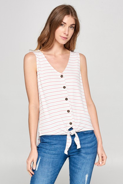 STRIPE AND TIE SLEEVELESS TOP - orangeshine.com