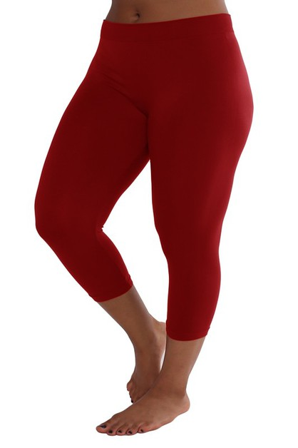 Plus Size Seamless Capri Legging - orangeshine.com