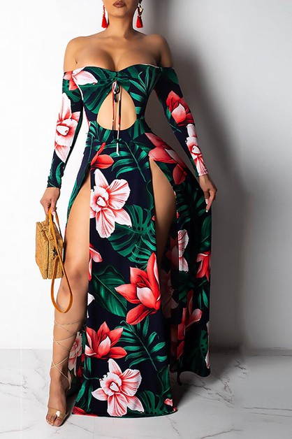 FLORAL MAXI DRESS OFF SHOULDER LONG  - orangeshine.com