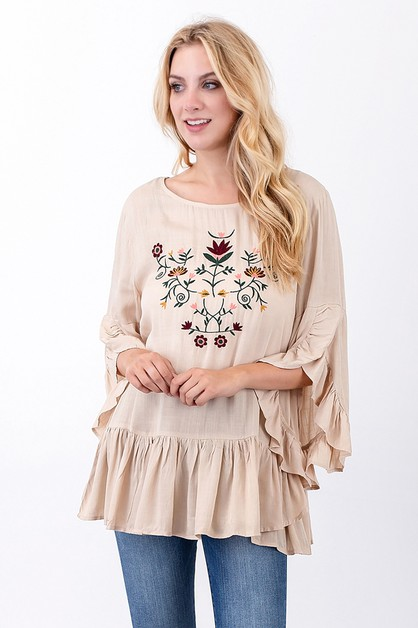 Embroidered Ruffle Top - orangeshine.com