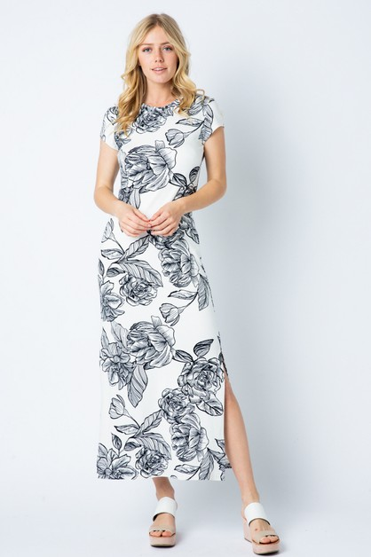72d4865096d LONG SLEEVE FLORAL PRINT MAXI DRESS. Short sleeve round neck with Side Sl -  orangeshine.com
