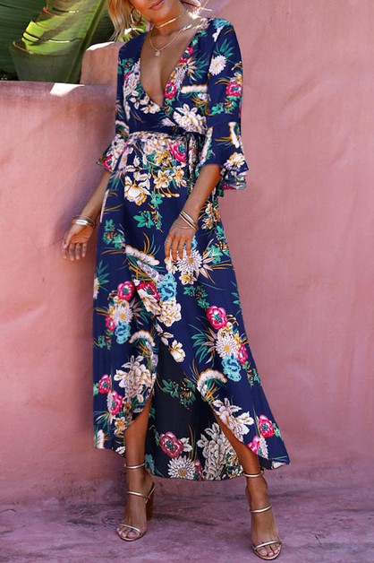 FLORAL MAXI DRESS PLUNGE V NECK QUAR - orangeshine.com