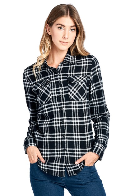 WOMEN PLAID FLANNEL LONG SLEEVE - orangeshine.com