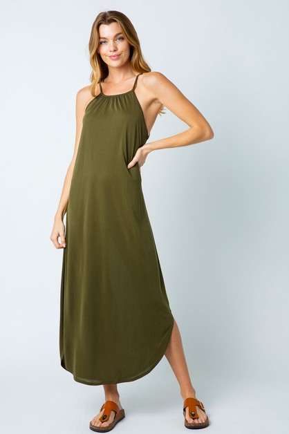 OPEN SHOULDER TIE BACK MAXI DRESS - - orangeshine.com