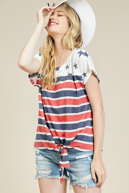 Patriotic Tie Dolman Top - orangeshine.com