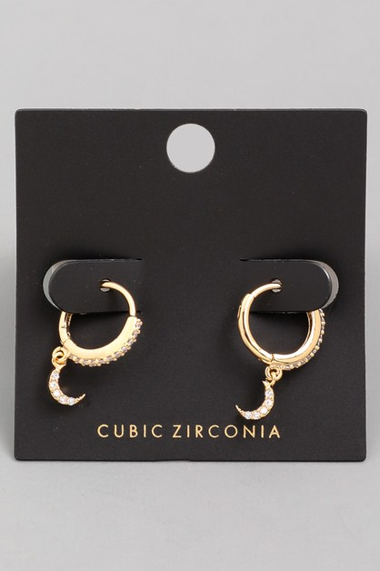 CZ Mini Studded Moon Hoop Earrings - orangeshine.com