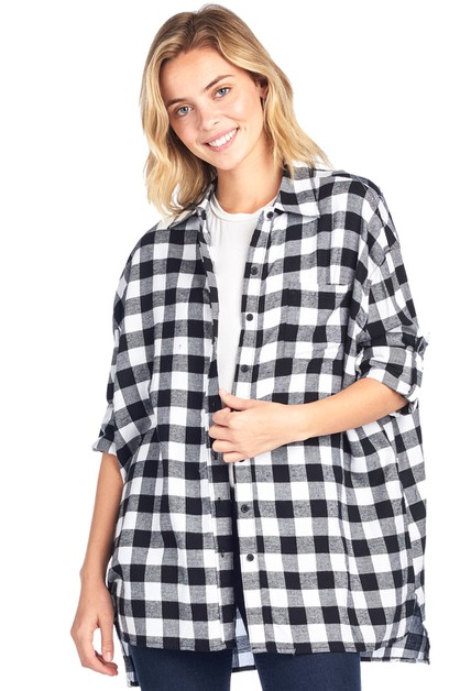 OVERSIZED BOTTON DOWN PLAID SHIRT - orangeshine.com