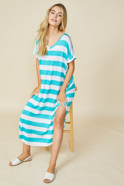 Bold Stripe Oversized Dress - orangeshine.com