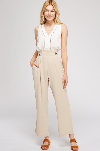 High Waisted Wide Leg Solid Pants - orangeshine.com