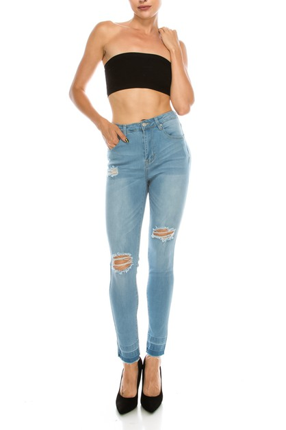 High Rise Distressed Skinny Jean - orangeshine.com