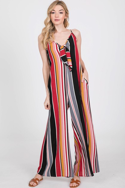 MULTICOLOR STRIPE WIDE LEG JUMPSUIT - orangeshine.com