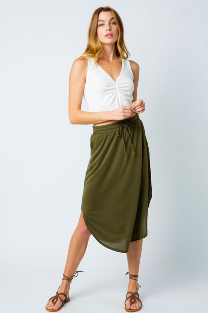 ROUNDED HEM MIDI SKIRT - orangeshine.com