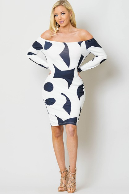 PRINT OFF SHOULDER BODY CON DRESS - orangeshine.com