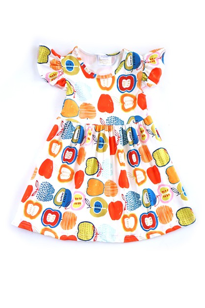 Back to School Apple Print Dress - orangeshine.com