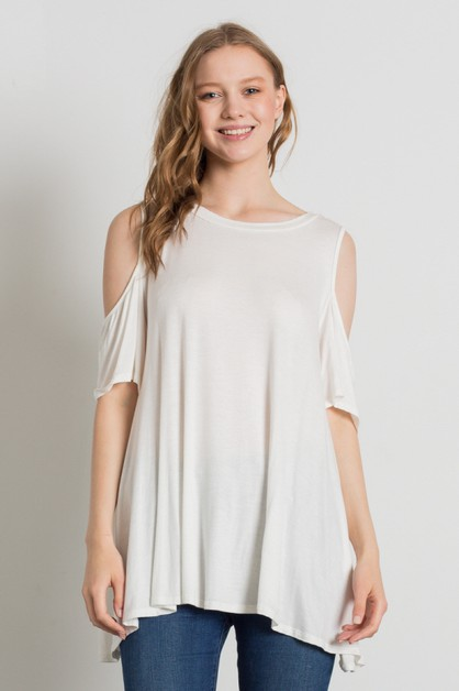 Knit Cold Shoulder Loose Fit Top - orangeshine.com