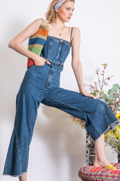 WASHED DENIM BOOT CUT JUMPSUIT - orangeshine.com