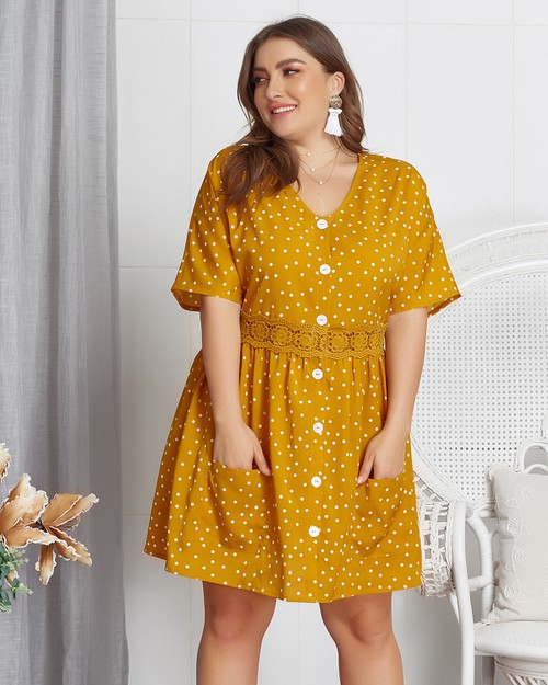 Short Sleeve Dots Casual Dress - orangeshine.com