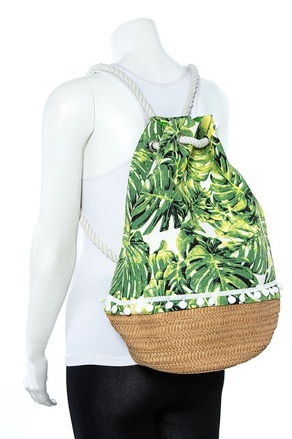 LEAF PRINT DRAWSTRING BACKPACK - orangeshine.com