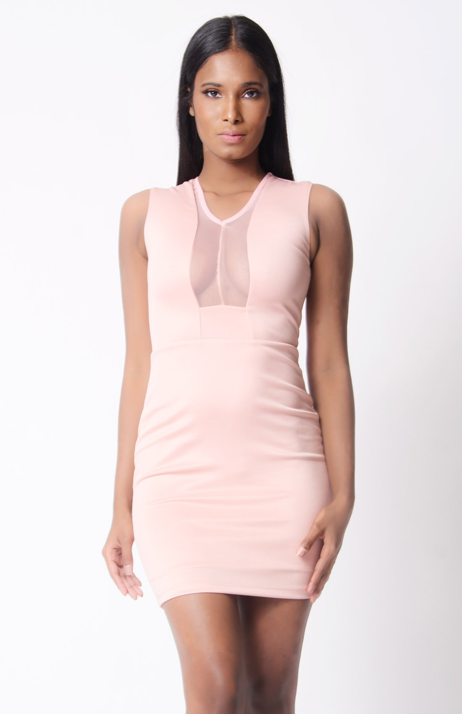 MESH TRIM SOLID MINI DRESS - orangeshine.com
