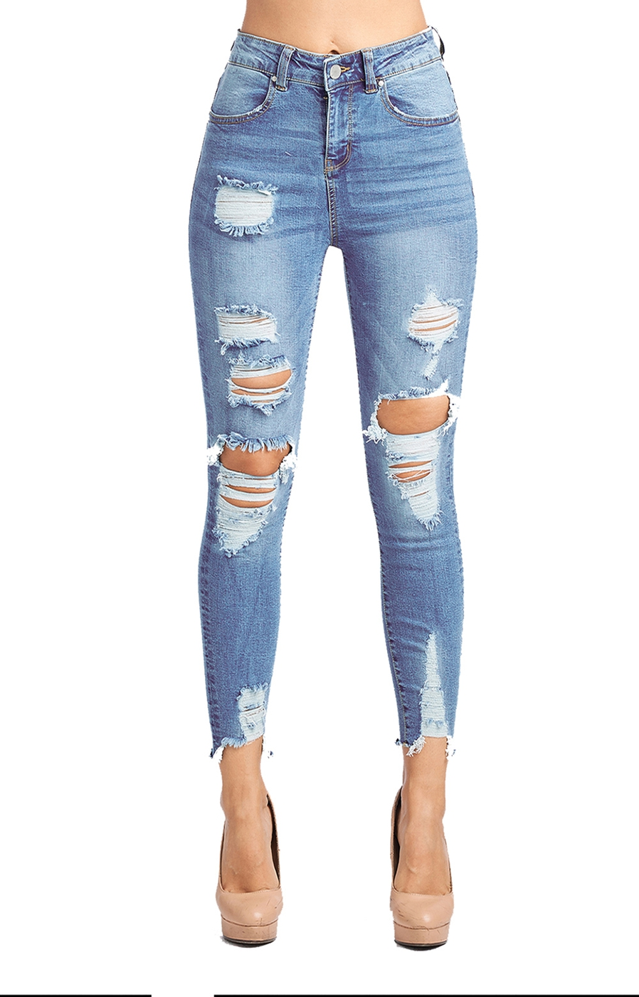 HIGH WAISTED DESTROYED SKINNY JEANS - orangeshine.com