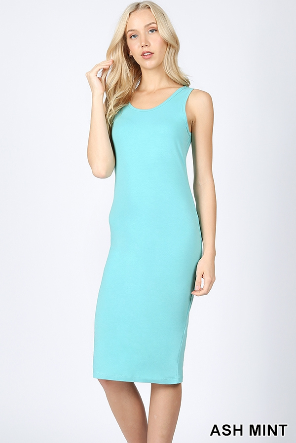 PREMIUM COTTON SLEEVELESS MIDI DRESS - orangeshine.com