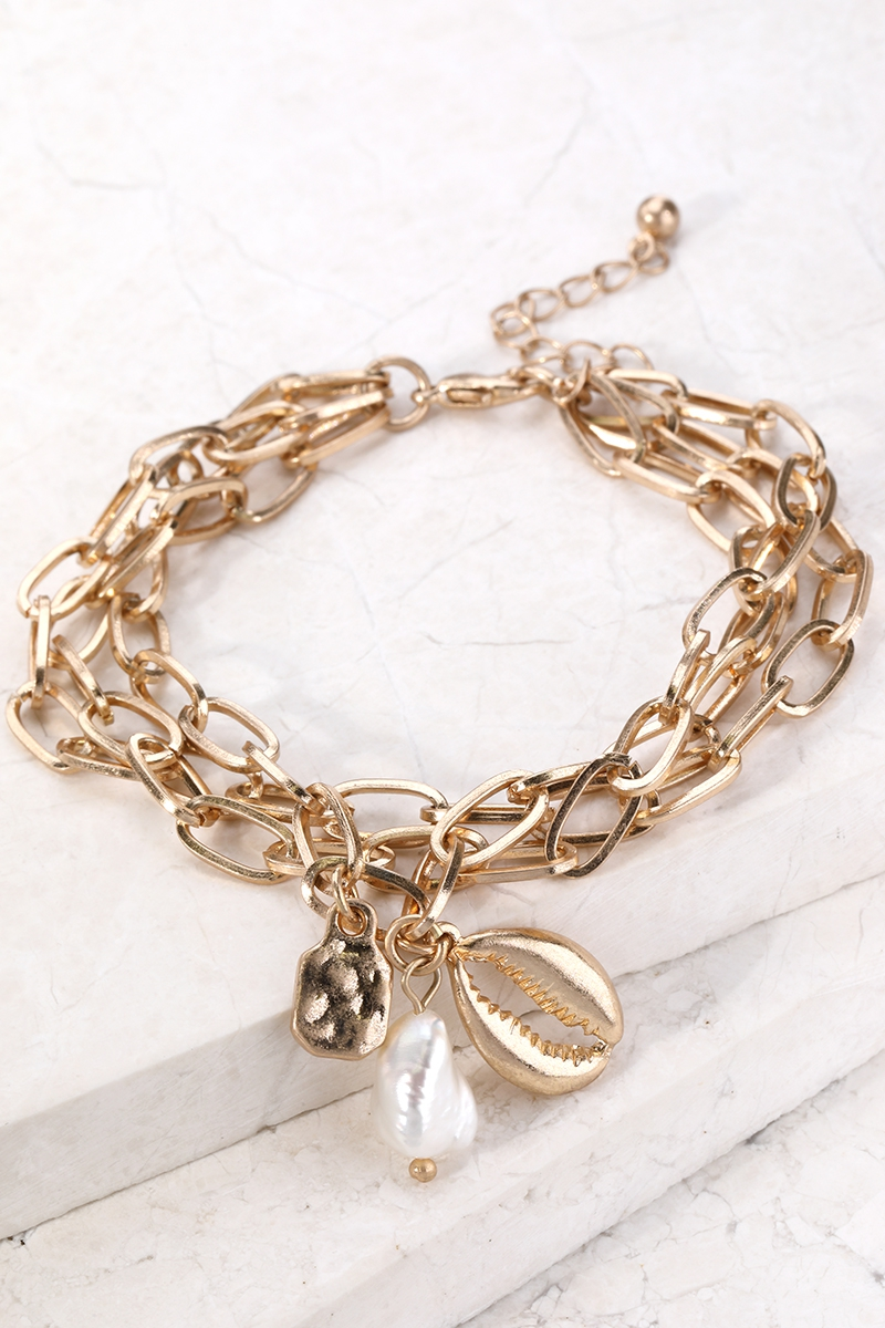 Layered chain with Charm Bracelet - orangeshine.com