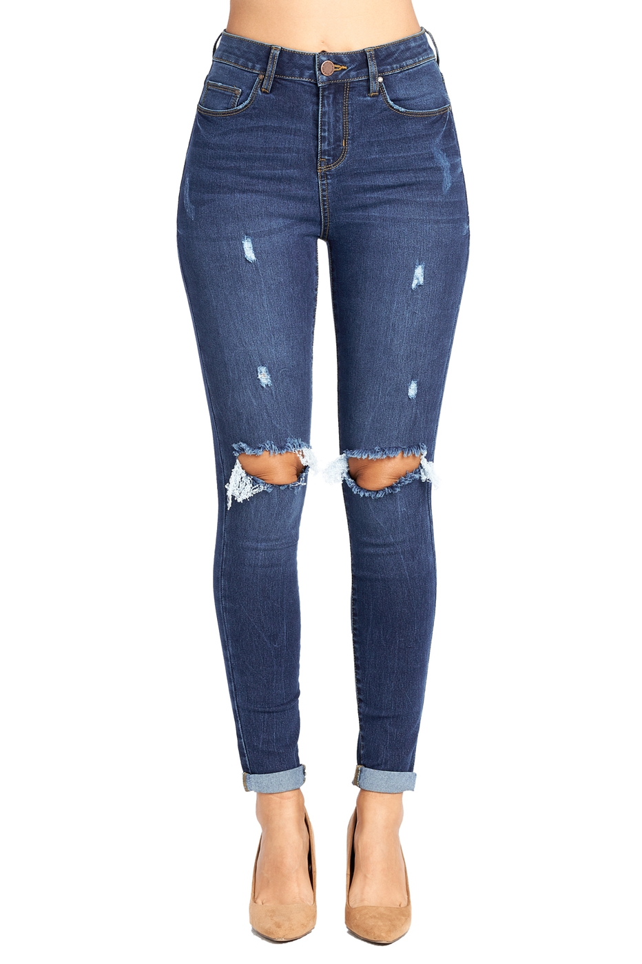 Lady Knee Ripped Distressed Jeans - orangeshine.com