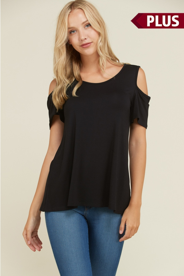 Plus Cold Shoulder Short Sleeve Top - orangeshine.com