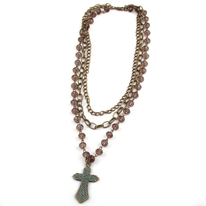 3Layer Glass Crystal Rosary Necklace - orangeshine.com