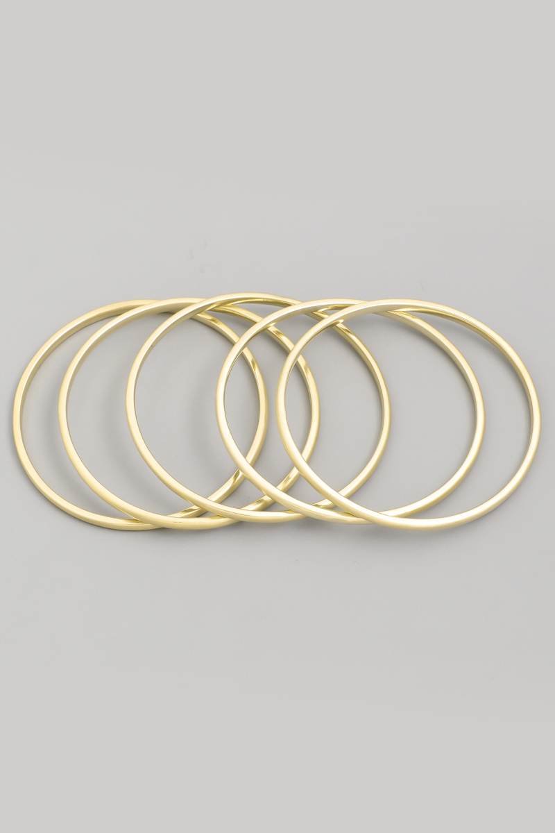 Matte Thin Bangle Bracelet Set - orangeshine.com