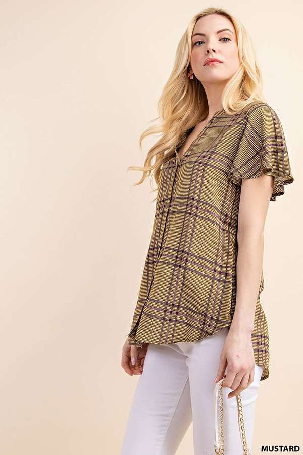 FLUTTER SLEEVE BIG PLAID TOP - orangeshine.com